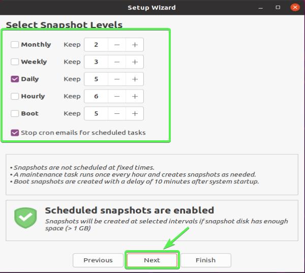 Choosing Snapshot Levels