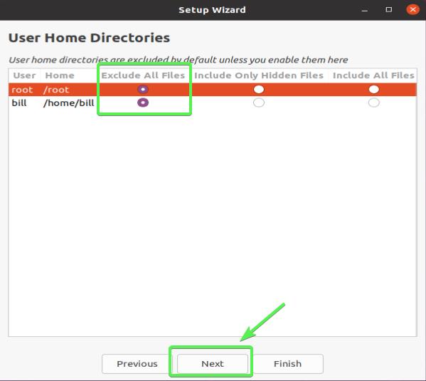 Exclude User Home Directories