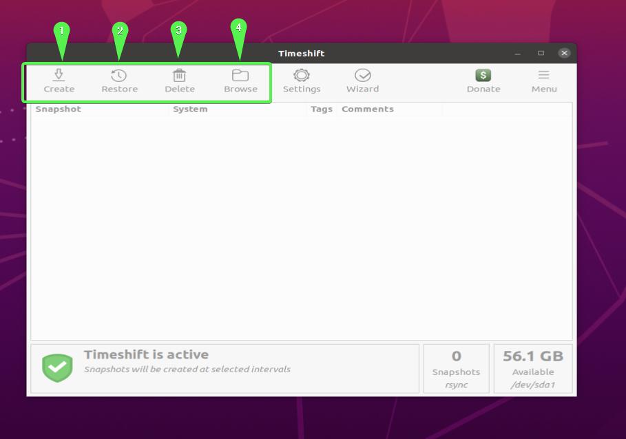 Timeshift GUI - Menu