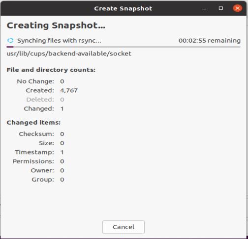 Timeshift GUI - Snapshot creation dialogue