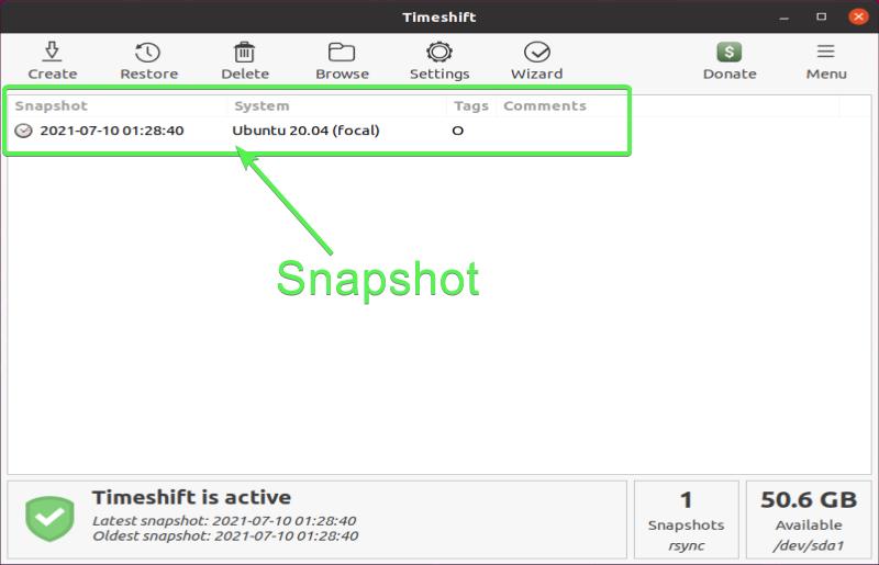 Timeshift GUI - Snapshot inventory