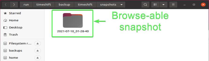 Looking at snapshot directory with file manager