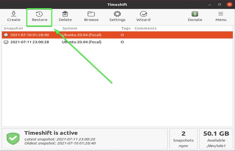 Timeshift GUI - Restore button