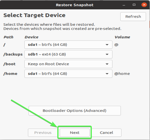 Timeshift GUI - Restore to the target device