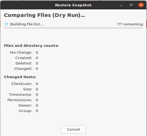 Timeshift GUI - Dry Run