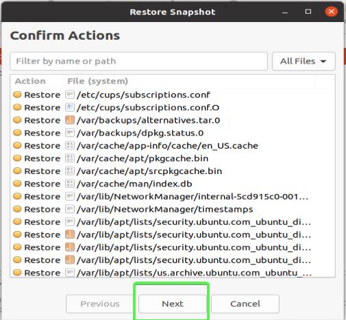 Timeshift GUI - Confirming restore actions