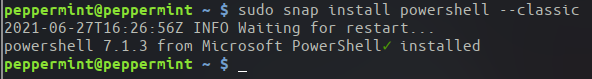 Installing PowerShell on Linux using Snap