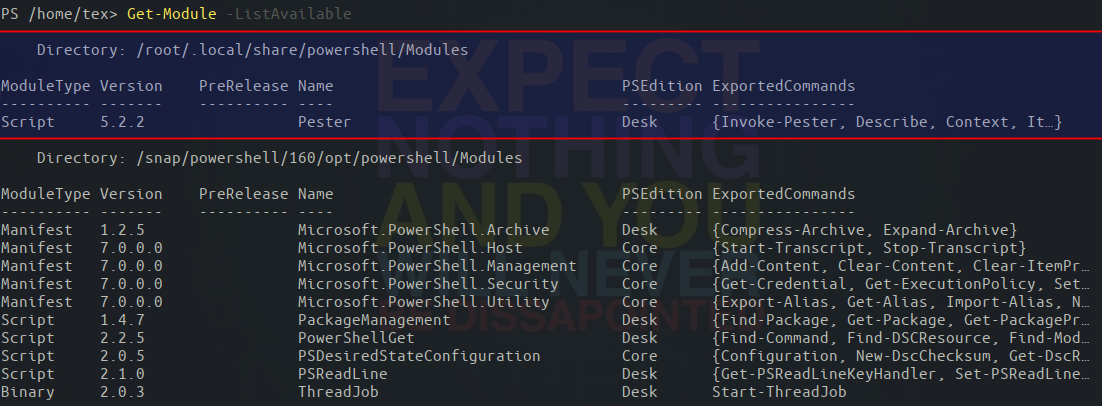 Checking the location of a stored PowerShell module on Linux