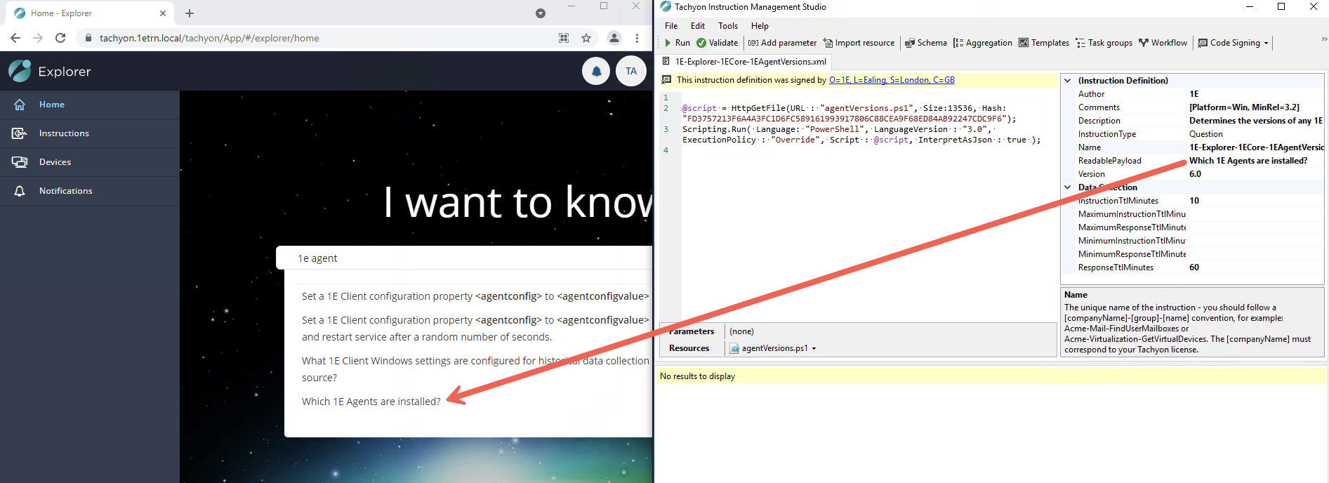 instruction configuration in TIMS correlates to what you'd see in Explorer