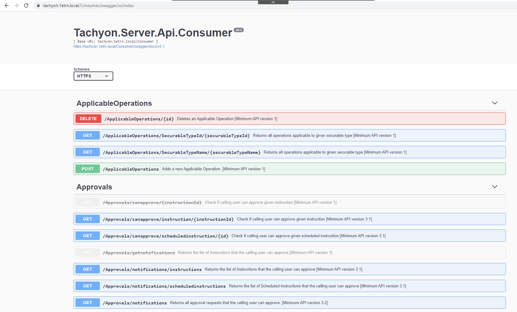 Swagger definitions for the Tachyon Consumer API