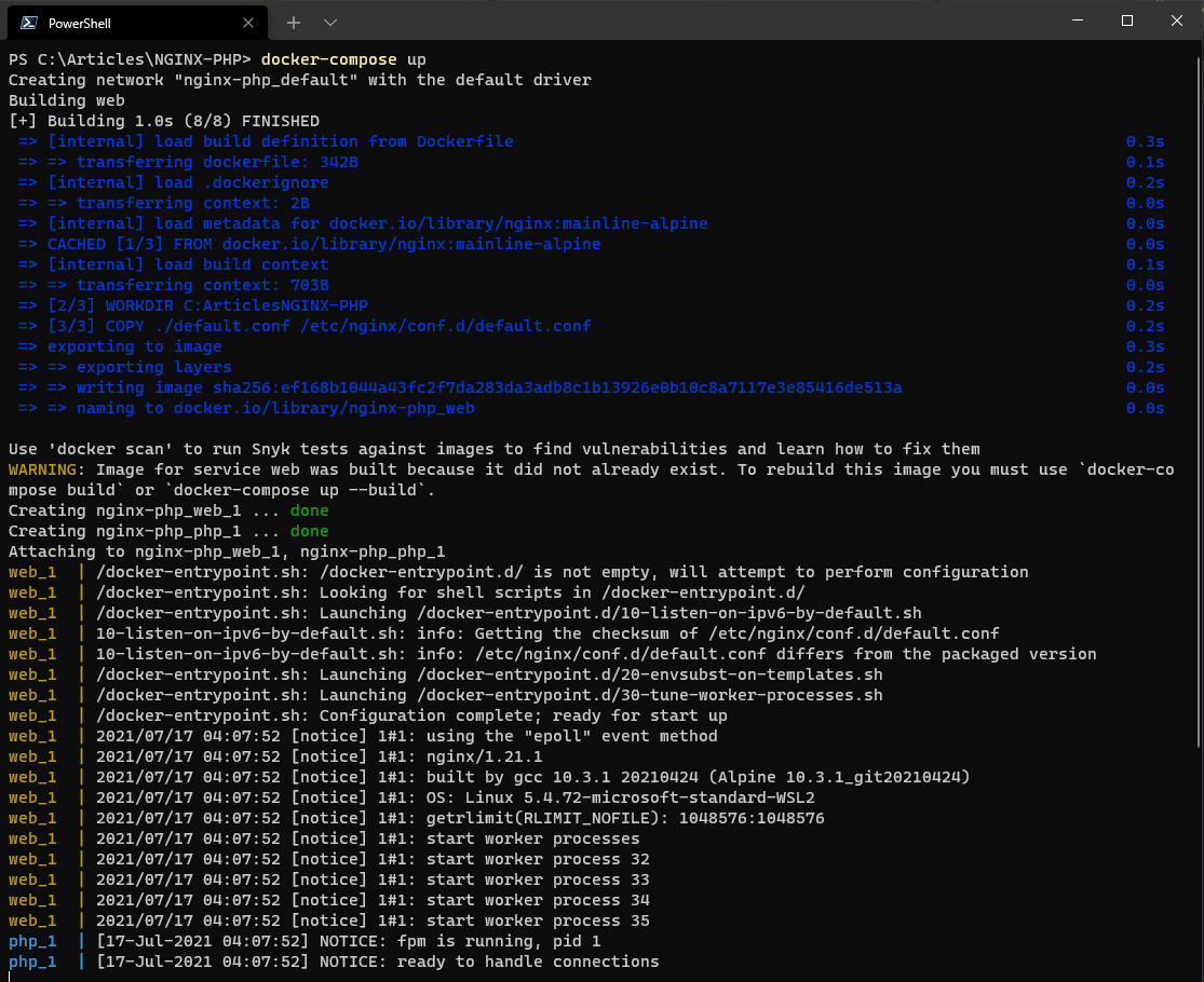 Starting the NGINX and PHP-FPM containers via Docker Compose.