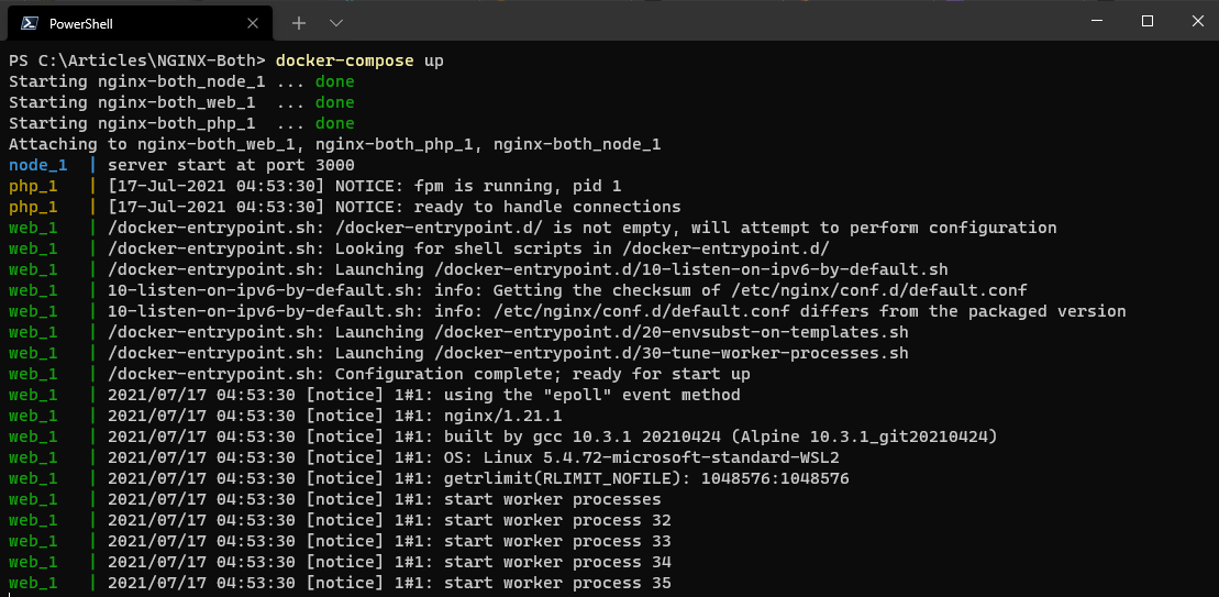 Starting the NGINX, PHP, and NodeJS containers via Docker Compose.
