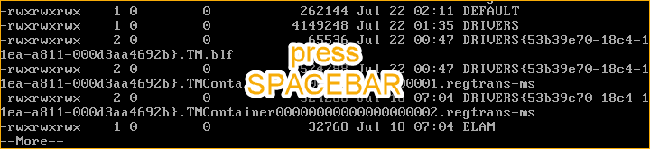 Press the spacebar to exit the files list
