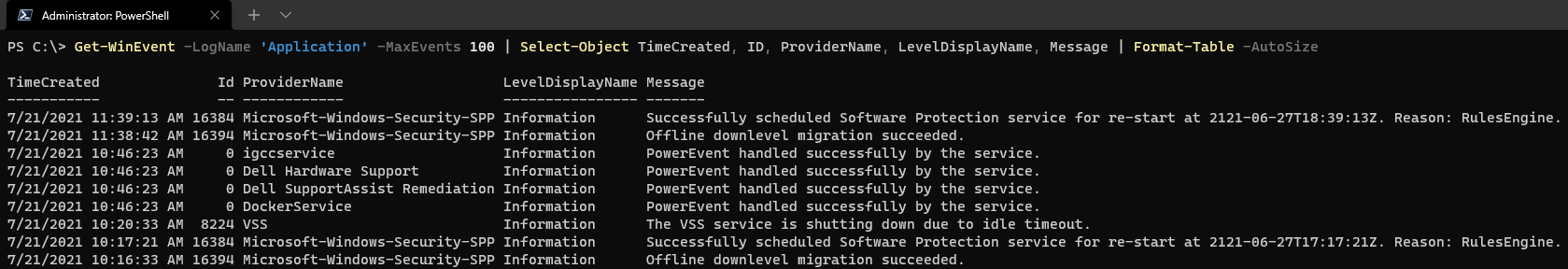 Returning events from the Application log.