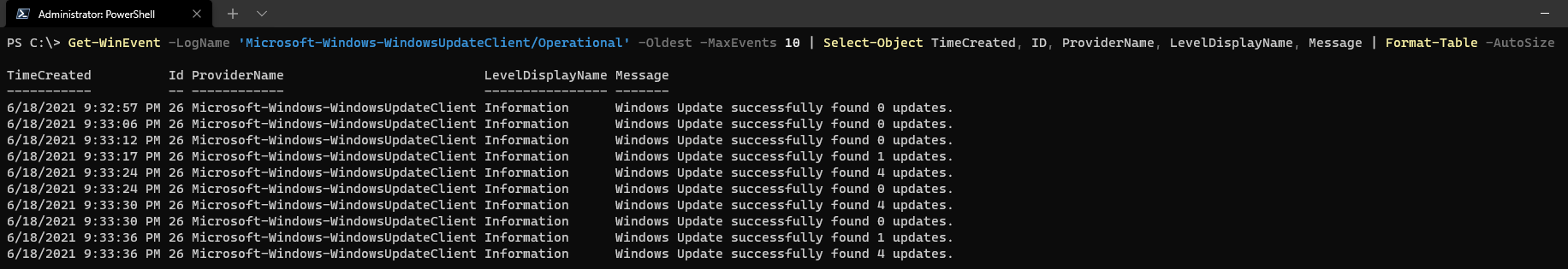 Returning only the oldest events in a Windows Event Log.