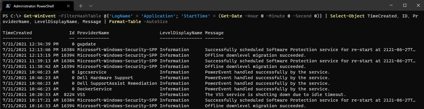 Filtering events with the FilterHashTable parameter.