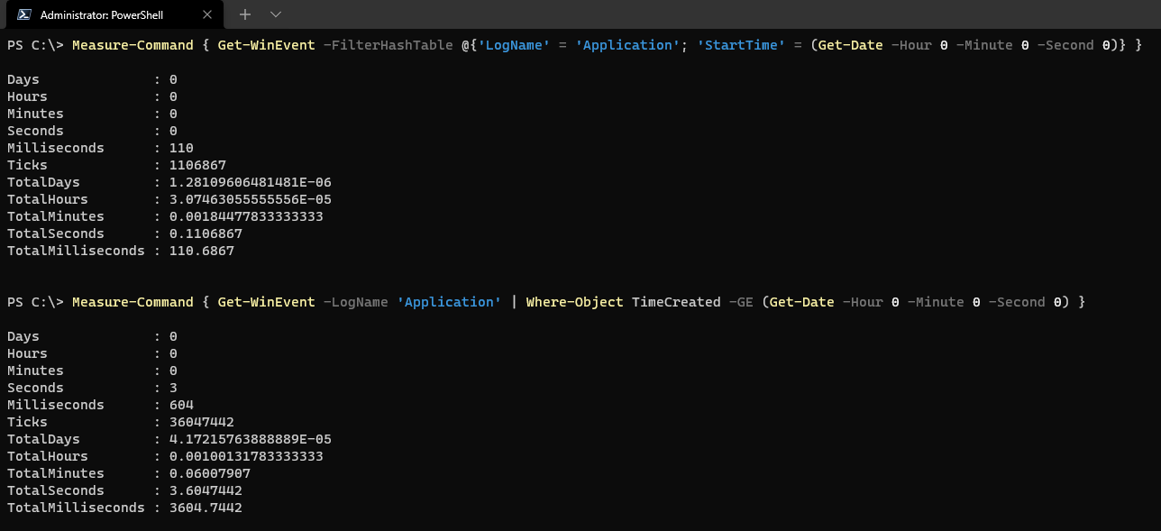 Comparing filtering with FilterHashTable and Where-Object.