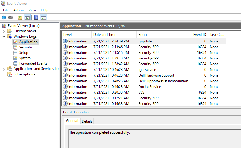 Opening the Windows Event Viewer.