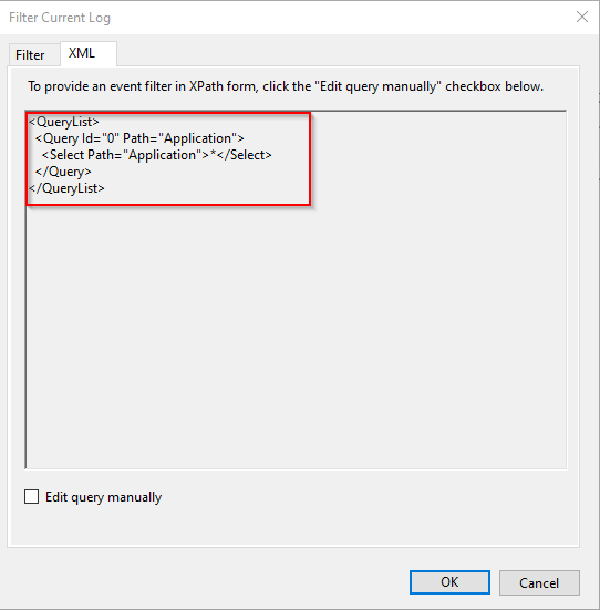 Selecting the entire XML query from Filter Current Log in the Event Viewer.