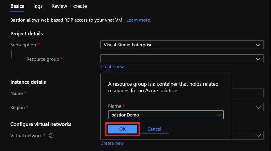 Creating a new Resource Group for deploy Azure Bastion