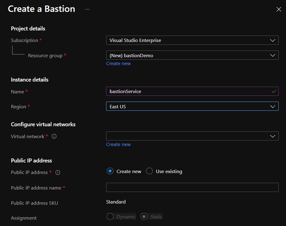 Creating an Azure bastion host in the Azure portal