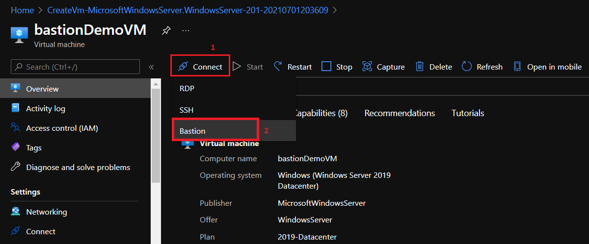 Connect menu to select the option to connect to the VM.