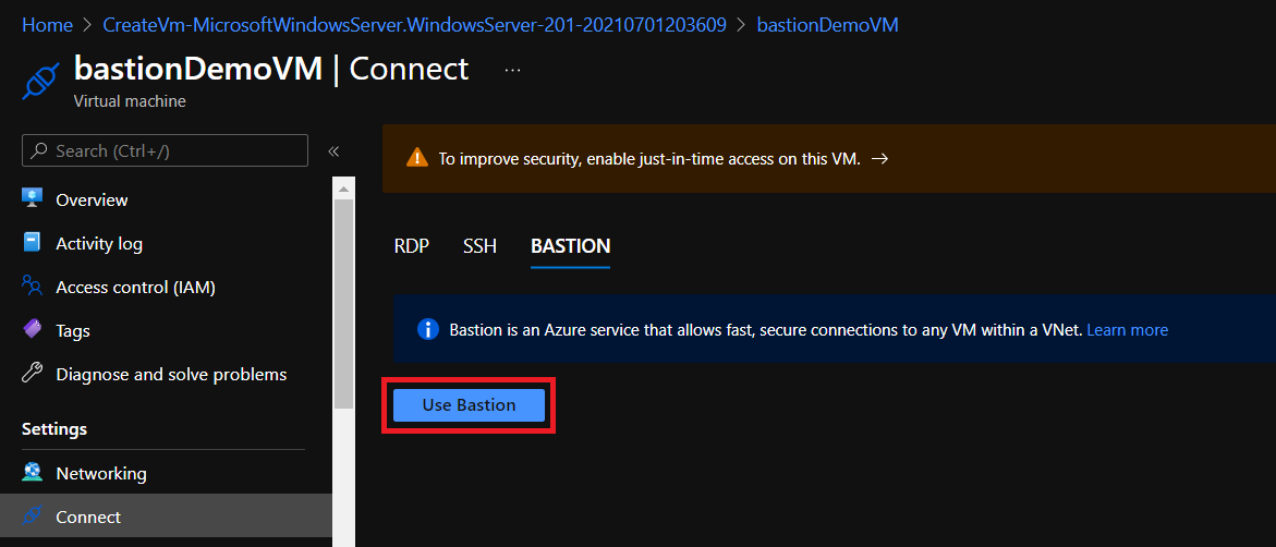 The Use Bastion button to open the connection.