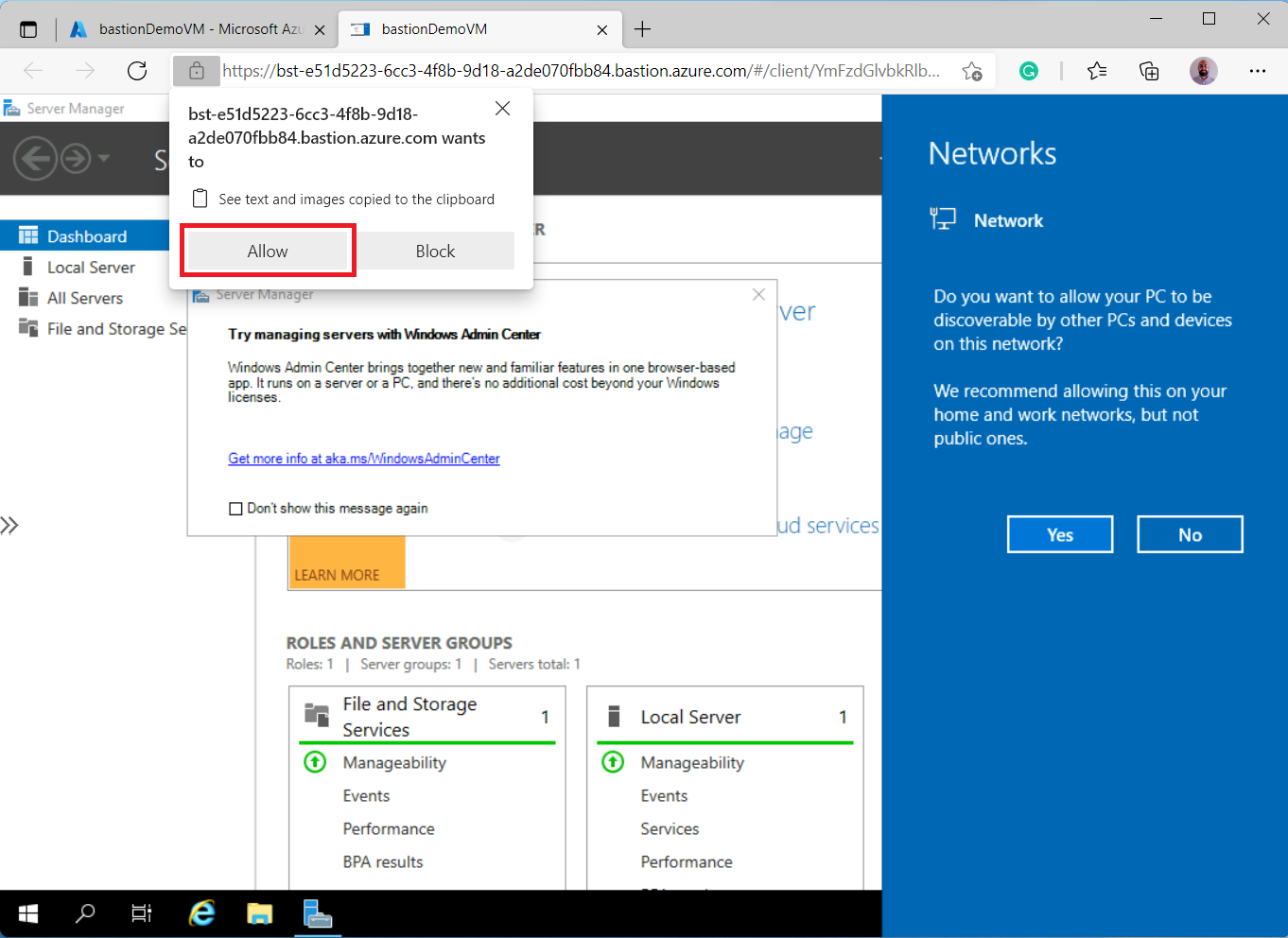Allowing shared clipboard in Azure Bastion