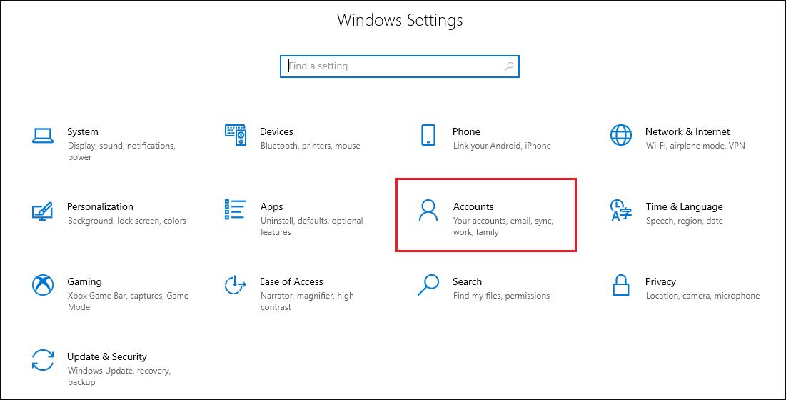 Selecting Accounts option