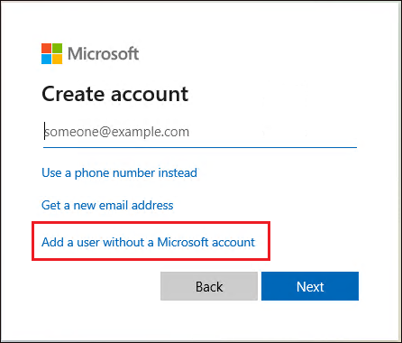 Displaying Add a user without a Microsoft account option