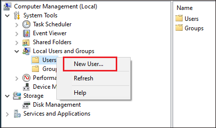Creating New user...