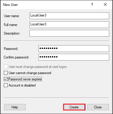 Filling the local user details