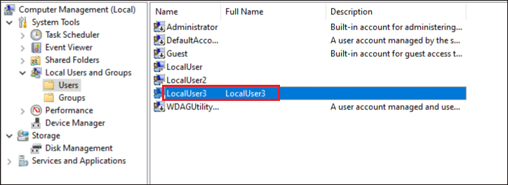 Verifying local user account creation in computer management console