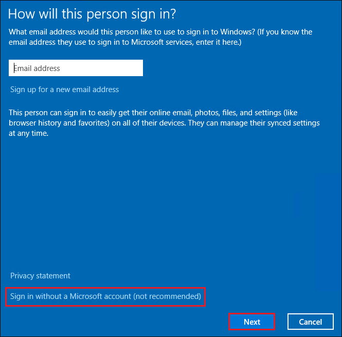 Displaying Sign in without a Microsoft account (not recommended) option