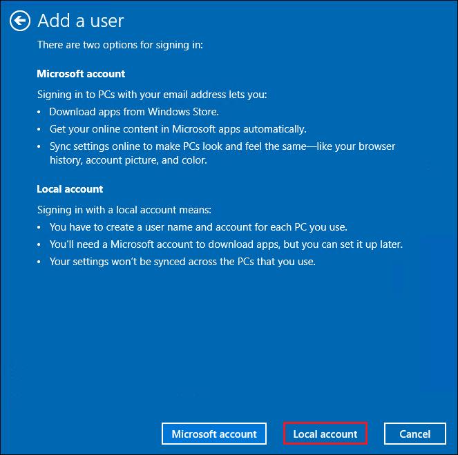 Displaying Local account option