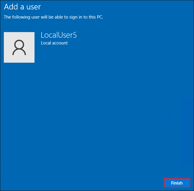 Local user account creation finish page