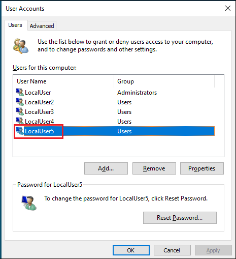 Local user account creation confirmation.