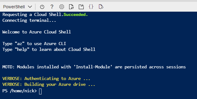 Active Cloud Shell Session