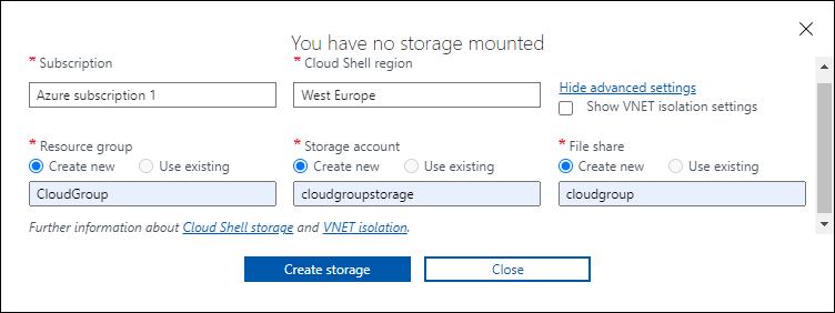 Cloud Shell Advanced Settings