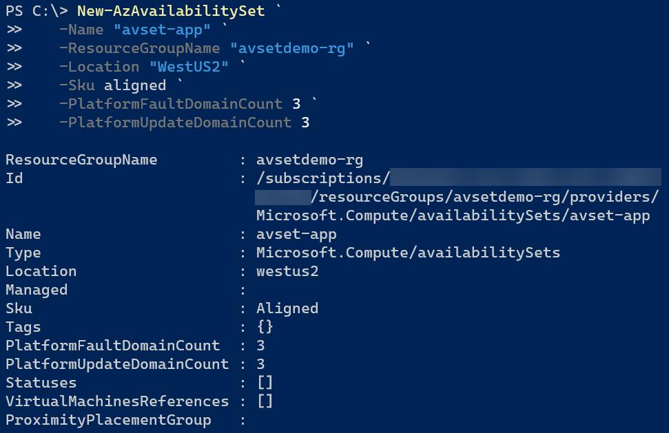 Create an availability set using Azure PowerShell