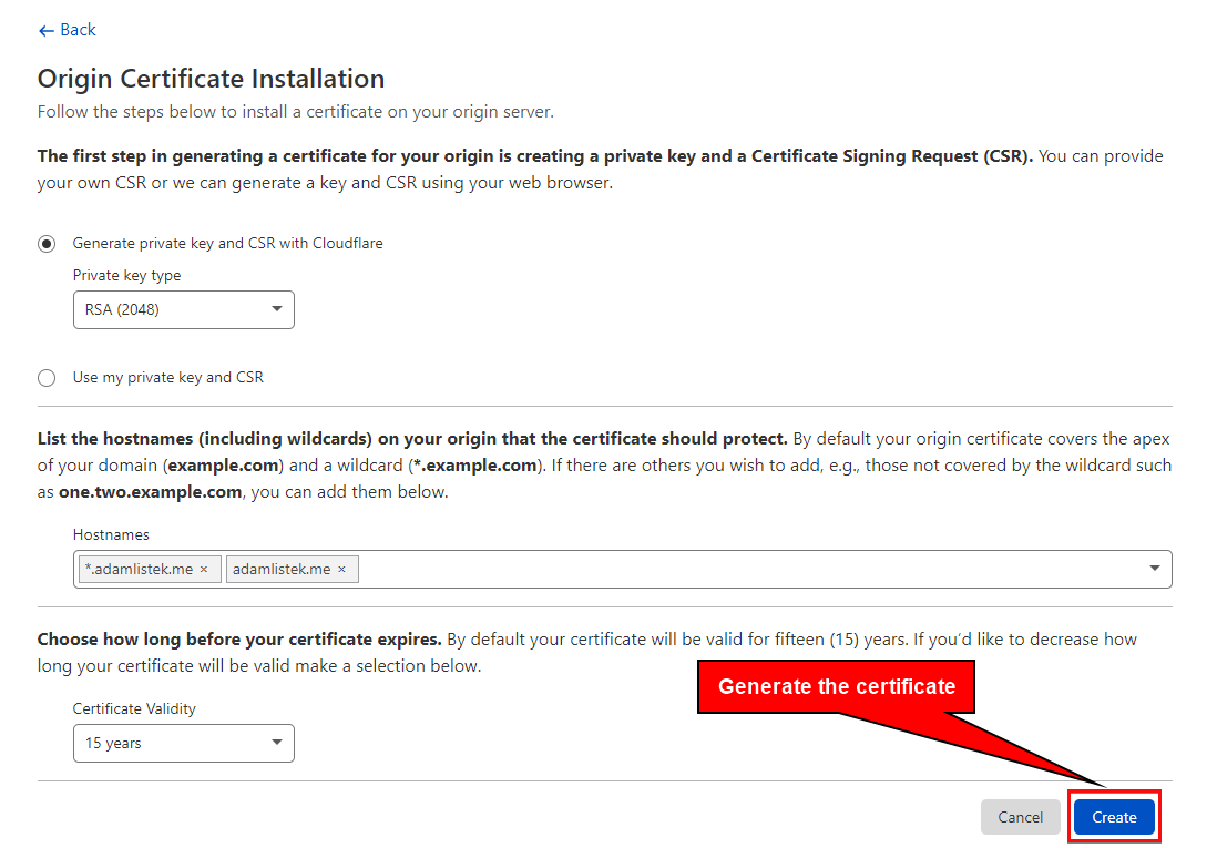 Creating a Cloudflare-provided origin server certificate.