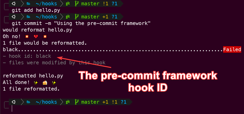 Using the pre-commit framework to run the black formatter hook.
