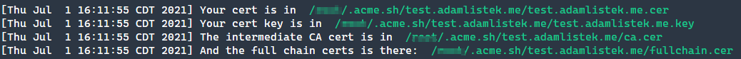 Generating the LetsEncrypt certificate.