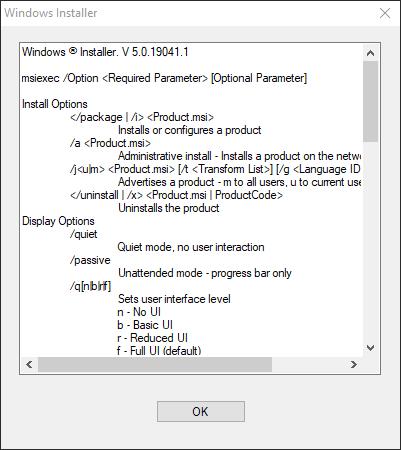 Windows Installer Argument List