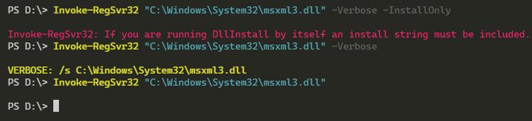 Running Invoke-RegSvr32 PowerShell Command
