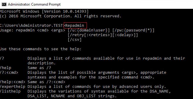 Running repadmin with no parameters.