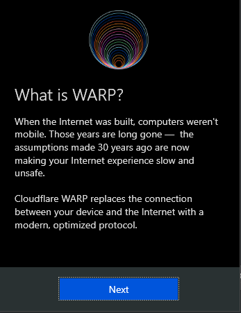 Welcome to the Cloudflare WARP message.