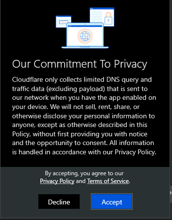 Cloudflare WARP privacy agreement,