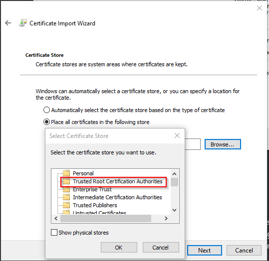 Placing the certificate in the Trusted Root Certificate Authorities certificate store.