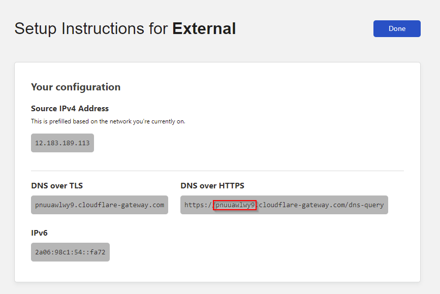 Copying the subdomain for DoH set up in the Cloudflare WARP client.